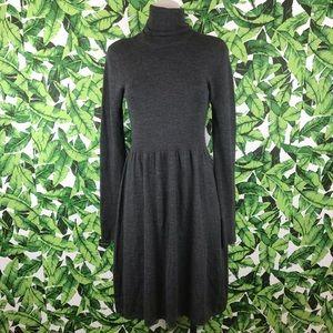 DKNY Dark Gray Turtleneck Merino Wool Dress